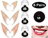 U-Goforst 3 Pack Halloween Vampire Teeth , 3 Pack Anime Elf Ears 15mm