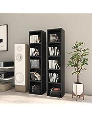 vidaXL 2 x CD-skåp kontor vardagsrum möbler medieförvaring skåp hylla video bokhylla displayenhet bokhylla svart spånskiva