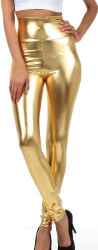 Sakkas Liquid2616 Shiny Liquid Metallic High Waist Stretch Leggings - Made in USA - Gold - XL (Womens Disco Clothes)