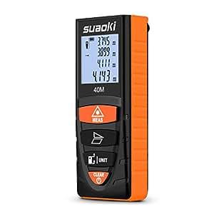 Suaoki D8 - 40m Telémetro Láser Distanciómetro, Medidor Láser, Metro Láser Con Multimodos de Medición