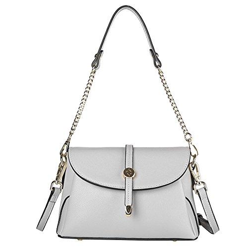 FLHT Nuevo Y Elegante Bolso De Verano Messenger Bag Cuero Cadena Bolso Cuero Salvaje Bolso De Las Señoras Gray