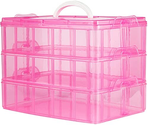 3-Tier Stackable Storage Container with 30 Compartments, Storage Box with Buckle, Non-Toxic Plastic Container Box for Dolls,Arts and Crafts, Fuse Beads, Washi Tapes, Jewelry, Toys