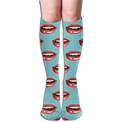 (YangAme Red Lips Blue 50 Full Comfort Knee High Socks Cotton Long Knee High Socks)