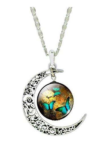 Darkey Wang Women Fashion Butterfly Time Gemstone Necklace(2#) (Making Memories Porcelain)