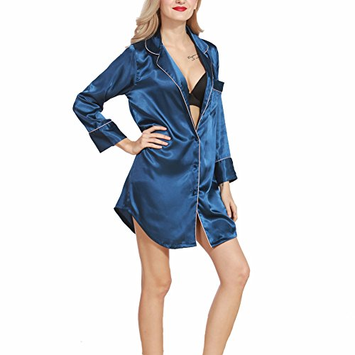 SUITEASY Women Satin Nightshirt Long Sleeve Sleepshirt Boyfriend Style Sleepwear (Large, Blue) (Satin Sleepshirt)