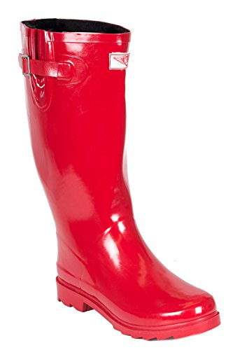 Women Rubber Rain Boots, Faux Fur Lining, Red, 7