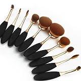 studioworks 10pcs nuevo moda super suave Oval cepillo para polvo De Dientes Cepillos Brochas para maquillaje Fundación Contour