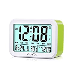 FIVE 0 EIGHT Digital Talking Alarm Clock with 4.5'' Display, Smart Backlight, 3 Alarms,7 Ring for Desk, Shelf, Table, Bedroom