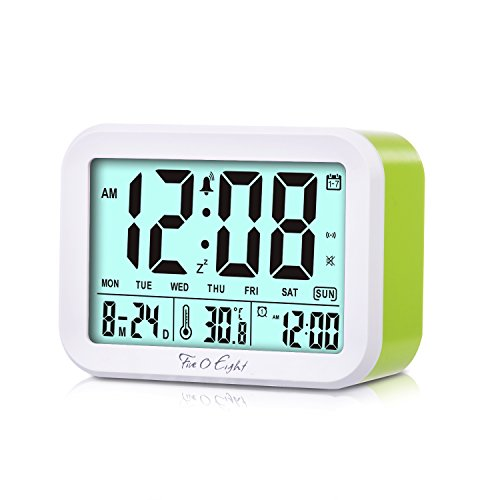FIVE 0 EIGHT Digital Talking Alarm Clock with 4.5 Display, Smart Backlight, 3 Alarms,7 Ring for Desk, Shelf, Table, Bedroom