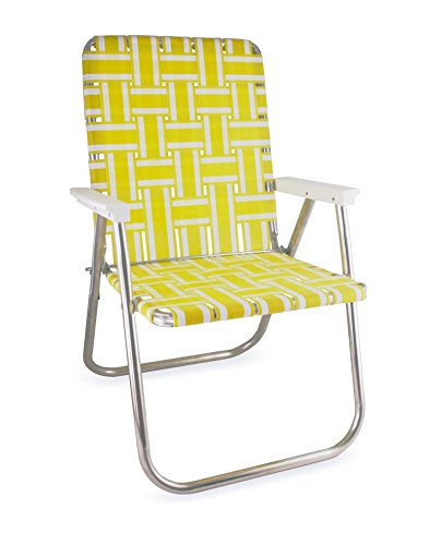 Lawn Chair USA Aluminum Webbed Chair (Deluxe, Yellow and White with White Arms) (Porch Chairs Yellow)