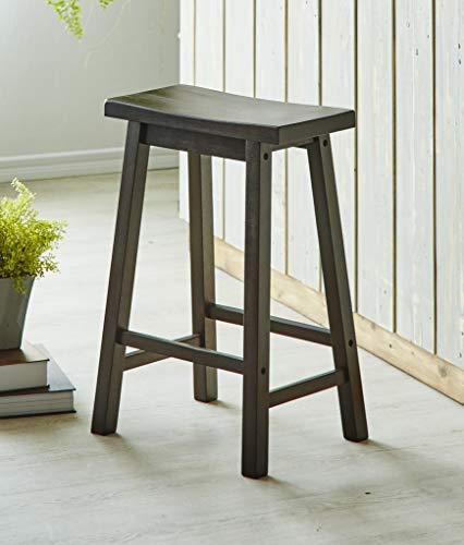 (PJ Wood 24-Inch Saddle Seat Counter Stool - Walnut)