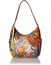 Anuschka Women's Genuine Leather Handbag   Classic Hobo With Side Pocket