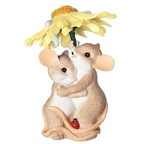 (Charming Tails Rainy Days Mouse Pair 3.5 Inch Resin Stone Tabletop Figurine)