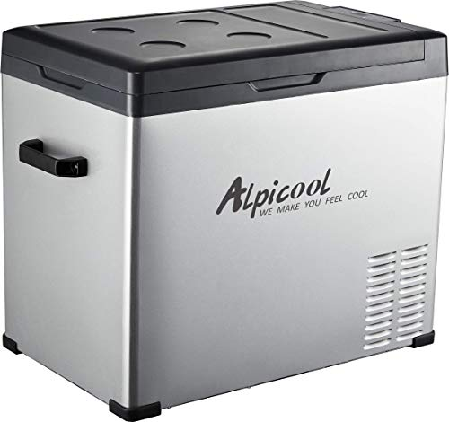 Alpicool C40 Portable Refrigerator 42 Quart(40 Liter) Vehicle, Car, Turck, RV, Boat, Mini Fridge Freezer for Travel, Outdoor and Home use -12/24V DC and 110-240 AC(Black and Silver) (40l Fridge)