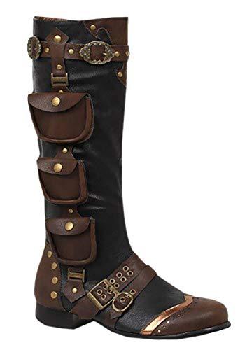 Ellie Shoes Men's Amos Steampunk Boots - Victorian Costume Shoes, Brown, Small (Steampunk Vest Men)