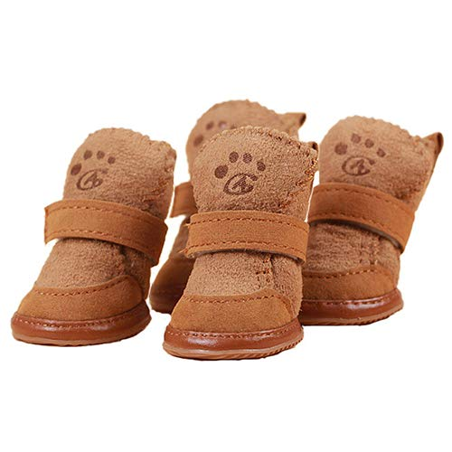 Brown X-Small Brown X-Small Pet Dog Cute Cozy Warm Anti Slip Winter Boots Thicken Fleece Snow shoes Dog Boots Water Resistant Dog shoes Dog Paw Predector,Brown,XS