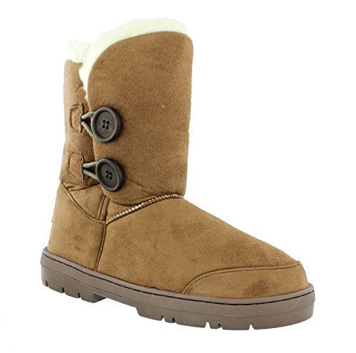 Chestnut Faux Sheepskin Low Lined Fur Look Rita Women's Ella Warm Boots A0Exv