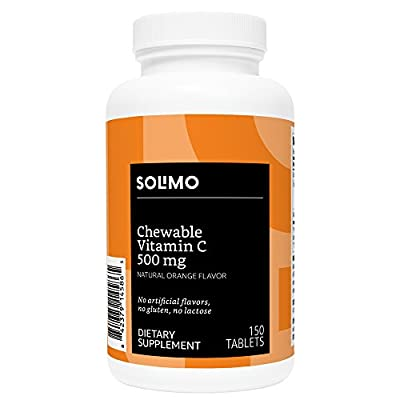 Amazon Brand - Solimo Chewable Vitamin C 500mg, Natural Orange Flavor