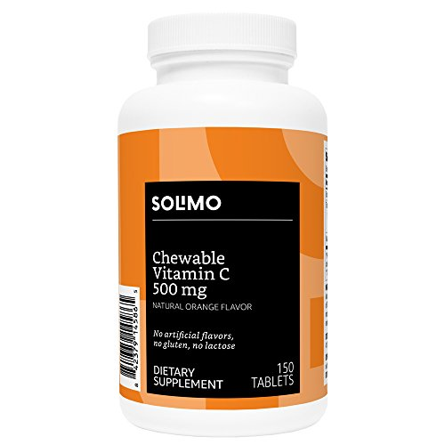 Amazon Brand - Solimo Chewable Vitamin C 500mg, Natural Orange Flavor, 150 Tablets, Five Month Supply