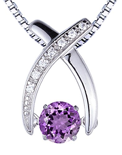 SERAFINA ❤ Amethyst Pendant Necklace with Lab Created White Sapphire Accents | Sterling Silver | Italian Silver 18