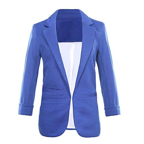 Classiche Manica Blau Tasche Sudore Elegante Fashion Slim Vintage Donna Con Tailleur Giacca Blazer Fit Outerwear Business Lunga Giacche Primaverile Da Autunno AR8g7qF