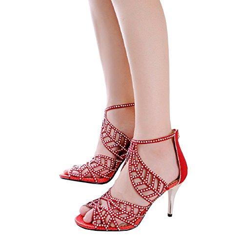 Cristaux Clous Sandales À Talons Hauts Peep Toe Sandales À Lanières Pompes De Soirée Robe De Soirée Chaussure Rouge