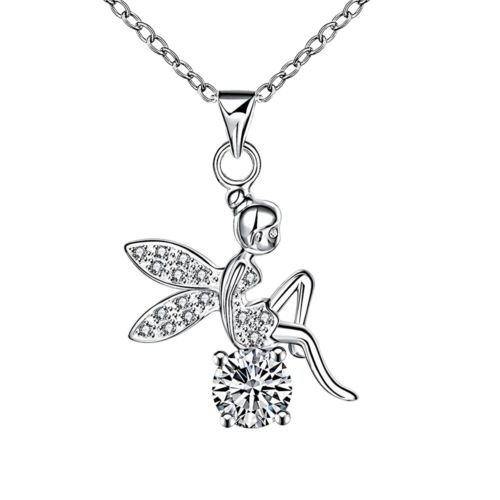 - Paweenaso Ransopakul Plated Girls Tinkerbell Chains Wings Necklace Crystal Fairy Angel Jewelry
