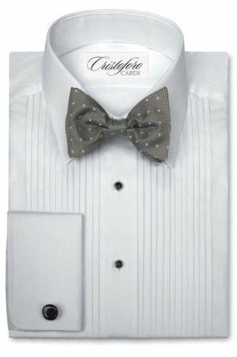 Cardi Men's Tuxedo Shirt - 100% Cotton - 1/4 Inch Pleat, Laydown Collar, White