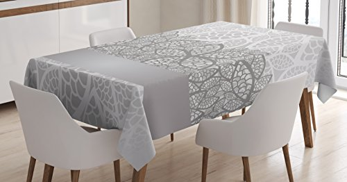 (Ambesonne Grey Tablecloth, Lace Inspired Flower Motifs Bridal Composition Stylized Leaves Wedding Theme, Dining Room Kitchen Rectangular Table Cover, 60 W X 90 L Inches, Gray Silver)