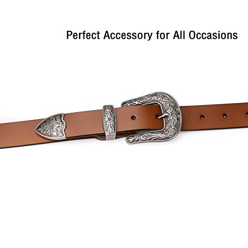 Genuine Leather Jeans Belts for Women SUOSDEY Women Brown Belts for Pants