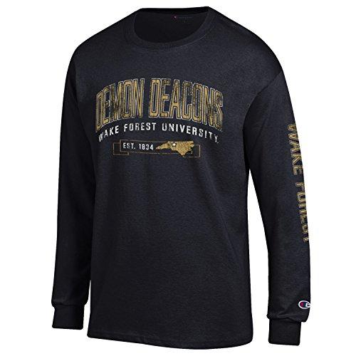 NCAA Wake Forest Demon Deacons Men's Champion Men's Fair Catch Long sleeve T-Shirt, Medium, (Wake Forest Tailgate)