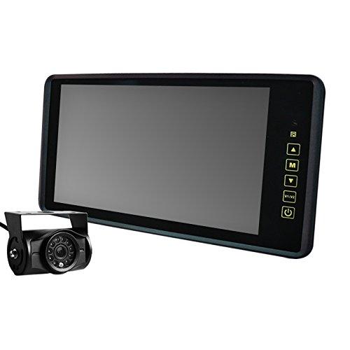 [B390BC8700B]9インチバックミラーモニター+バックカメラセット 12V24V兼用 ルームミラーモニター 暗視機能バックカメラ赤外線LED付 9インチフルミラー簡単取り付け B01ABFDRXU