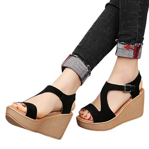 Amlaiworld Women's Sandals Wedges Shoes Thick Bottom Belt Buckle Shoes Open Toe Sandals Summer Dress Sandals Shoes Black