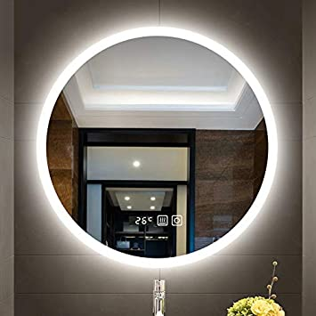 miroir salle de bain Miroir de salle de bain rond à LED mural ...