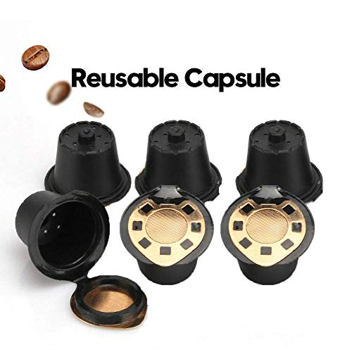 BRBHOM Refillable Capsules Pods Reusable Nespresso Coffee Capsule Filters Set of 6 Compatible with Nespresso Machines with Coffee Spoon,Brush