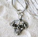 Demon Skull Rams cuernos peltre Llavero Llavero