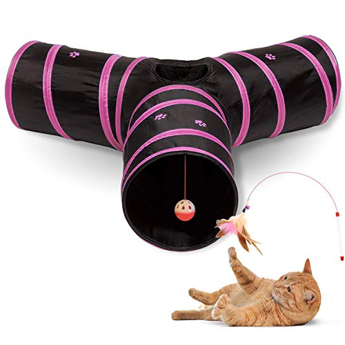 All Prime Cat Tunnel - Also Included is a Free ($5 Value) Interactive Cat Toy - Toys for Cats - Cat Tunnels for Indoor Cats - Cat Tube - Collapsible 3 Way Pet Tunnel - Great Toy for Cats & Rabbits