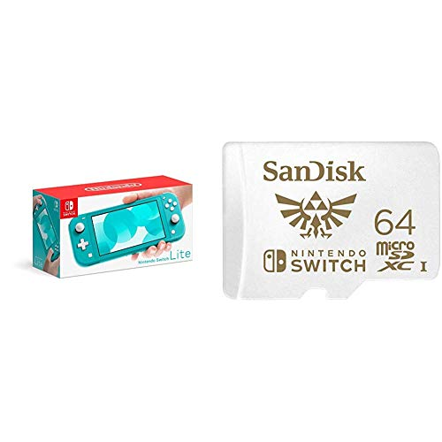 Nintendo Switch Lite - Turquoise with SanDisk 64GB MicroSDXC UHS-I Card for Nintendo Switch