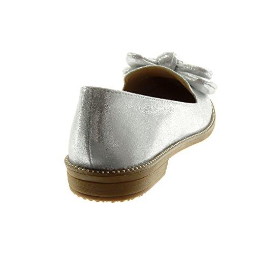 Mocassin Papillon on Noeud Talon Slip 5 Femme Cm Clouté Bloc 2 Mode Brillant Argent Angkorly Chaussure qx1E00