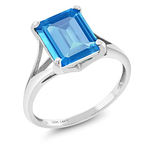 Gem Stone King 4.00 Ct Emerald Cut Swiss Blue Topaz 14K White Gold Women's Solitaire Ring (Size - 4 Blue Ct Ring White Gold Topaz 14k
