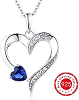YL Sterling Silver Blue/Pink/Red Cubic Zirconia/Sapphire/Ruby Love Heart Pendant Necklace 18+2''
