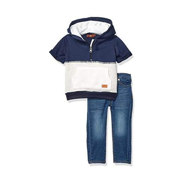 Kerrian Online Fashions 41bt-0yOHFL 7 For All Mankind Baby Boys Hooded French Terry T-Shirt and Denim Short