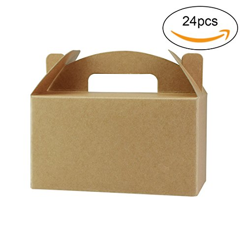 FOONEA 24 Pack Brown Color Treat Boxes Birthday Party Favors Shower Favor Box, 6.3 x 3.54 x 3.54 inch