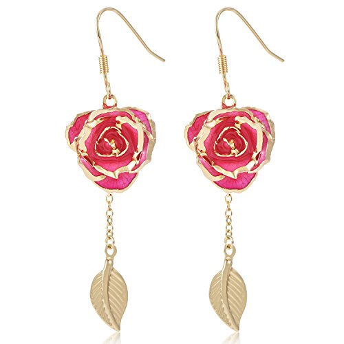 ZJchao 24K Gold Flower Dangle Earrings with Leaf Long Drop Earrings Rose Jewelry for Women Gift (pink)