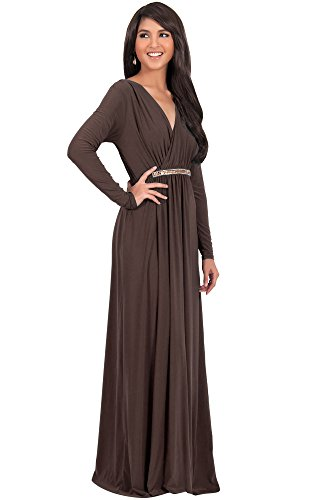 9a4a295c75349 ... Sleeves Kaftan V-Neck Flowy Formal Wedding Guest Fall Winter Evening  Day Empire Waist Abaya Muslim Gown Gowns Maxi Dress Dresses, Dark Brown L  12-14.  ...