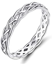 SOMEN TUNGSTEN 925 Celtic Knot Rings for Women Sterling Silver Wedding Band 4mm Size 4-11