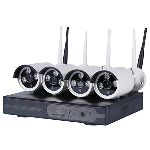 4CH Wireless 1080P DVR KIT CCTV WiFi IP Outdoor Home Security 720p Megapixel WiFi IP Cameras