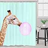 Smurfs Yingda Giraffe Blowing Bubble Gum Shower Curtain Giraffe Bathroom Curtain Animal Shower Curtain Waterproof Bath Decor Accessories with Hooks