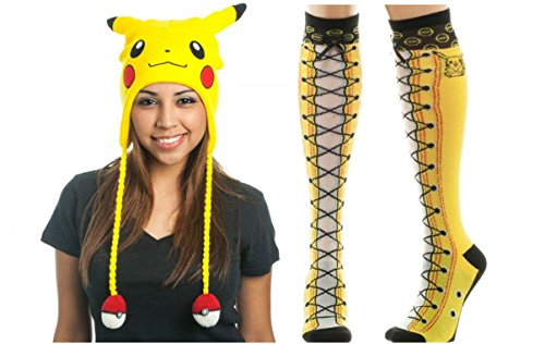 [Pokemon Pikachu Big Face Laplander & Faux Lace Up Knee High Socks Bundle Set] (Slowpoke Costume)