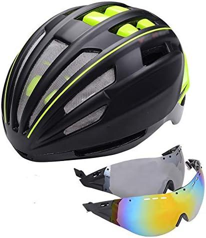 大人用自転車ヘルメット 2磁気ゴーグルマウンテンロード自転車機器で成形ヘルメットの男性と女性の乗馬ヘルメットサイクリングヘルメット スポーツ 大人 男女兼用 (Color : Green, Size : 62cm)
